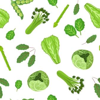 緑の野菜のシームレスなパターンキャベツレタスほうれん草と健康的な野菜の背景