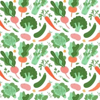 Green vegetables seamless pattern