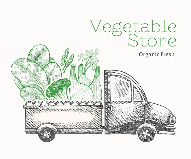 Green vegetables shop delivery template.