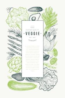 Шаблон зеленые овощи. ручной обращается иллюстрации пищи. овощная рамка с гравировкой. ретро ботанический.