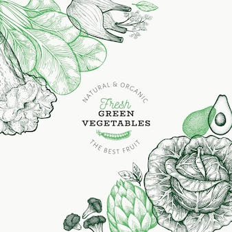 Green vegetables template.