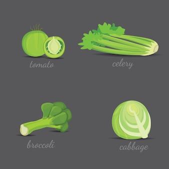 Дизайн вектор зеленые овощи. здоровые природные свежие растения векторные иллюстрации шаржа изолированные