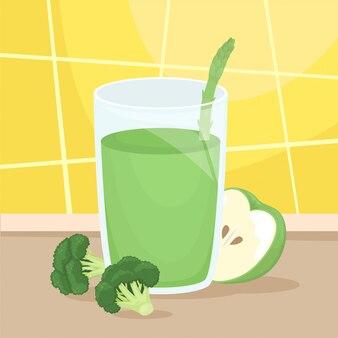 Зеленый вегетарианский коктейль с брокколи и зеленым яблоком. изолированная плоская иллюстрация.