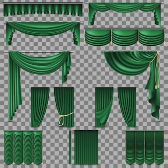 녹색 벨벳 실크 커튼. 투명한 배경 만