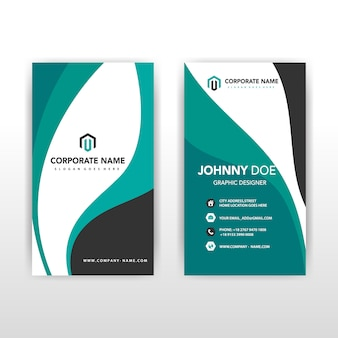 Green vertical wavy back and front corporate card