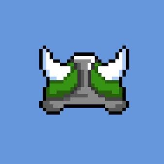 ピクセルアートスタイルの緑のバイキングヘルメット
