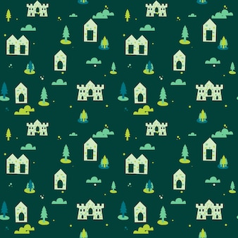 Green village background seamless pattern