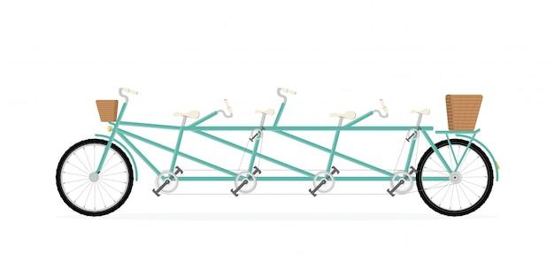 그린 빈티지 4 인승 탠덤 자전거.