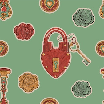 緑のビンテージ シームレス パターン。レトロなスケッチ風にバラとハートロック