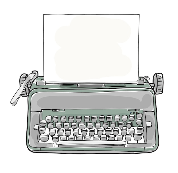 Green vintage typewriter hand drawn vector