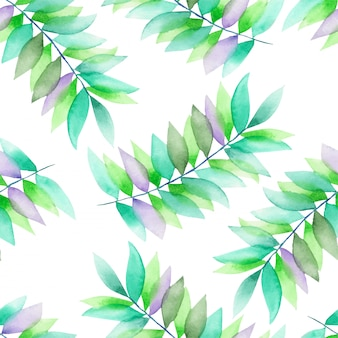 Green and violet leaves on branches watercolor pattern