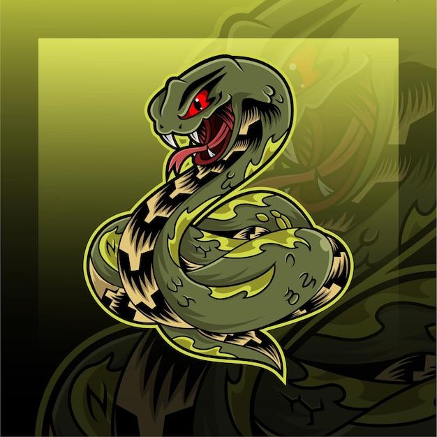 녹색 바이퍼 뱀 마스코트 로고 디자인