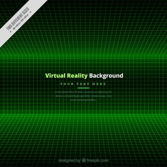 Green virtual reality grid background