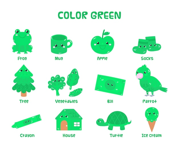 Green vocabulary set in english for kindergarten kids