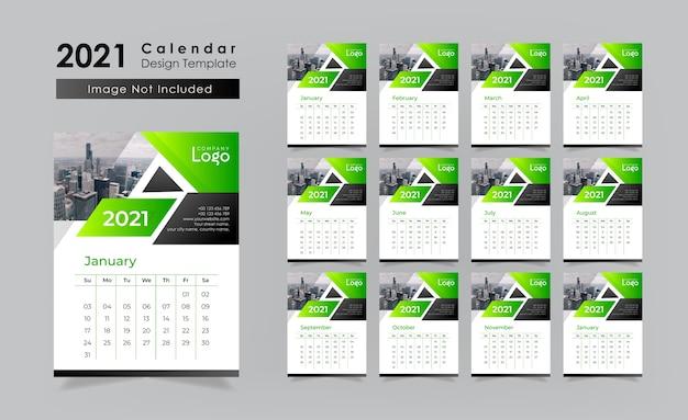 Зеленый настенный календарь