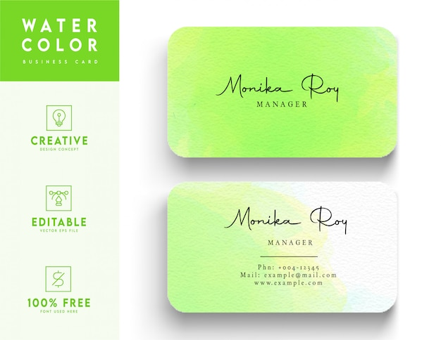 Green water color business card template