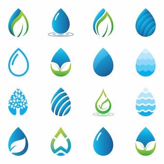 Green water drop logo set