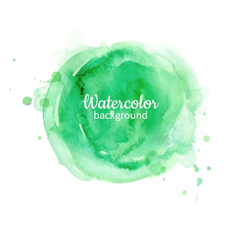 Green watercolor abstract hand painted background. watercolor circle texture