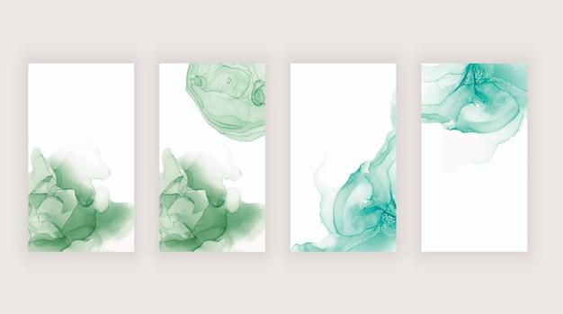 ソーシャルメディアストーリーバナー用の緑の水彩アルコールインク