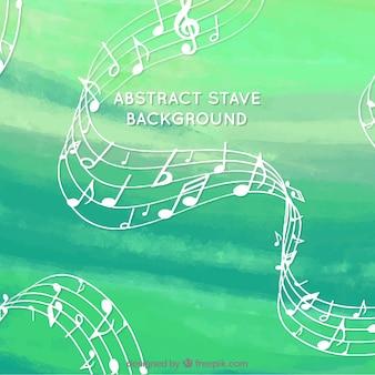 Зеленый акварельный фон с посохами и музыкальными нотами