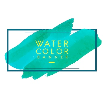 Green watercolor banner design vector