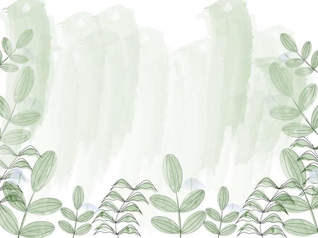 緑の水彩ブラシは背景を残します。