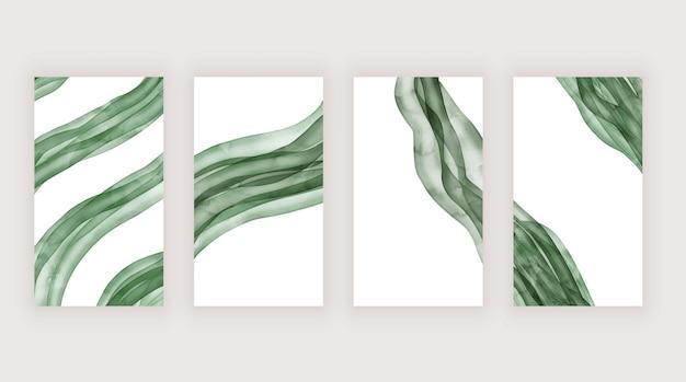 ソーシャルメディアストーリーのための緑の水彩ブラシストローク