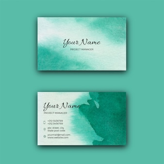 Green watercolor corporate business card template
