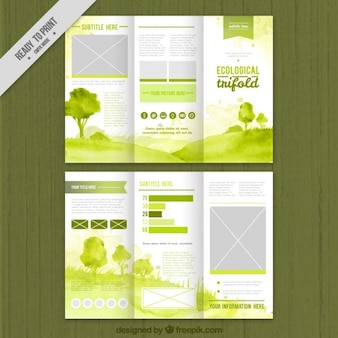 Green watercolor ecological trifold