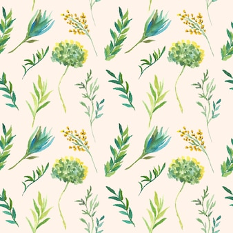Green watercolor floral seamless pattern