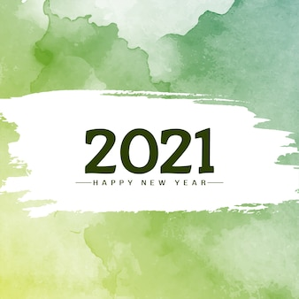 Green watercolor happy new year 2021 background