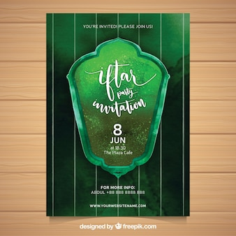 Green watercolor iftar flyer