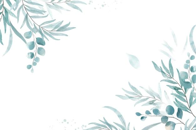 녹색 수채화 나뭇잎 배경