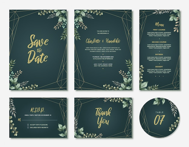 Green watercolor leaves wedding invitation card set
