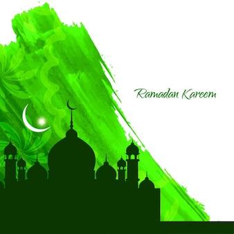 グリーン水彩ラマダンの背景