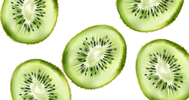 Green watercolor sliced kiwi fruit