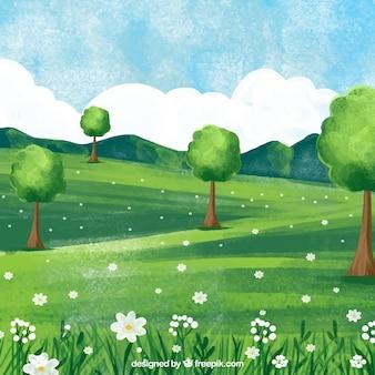 그린 수채화 봄 풍경