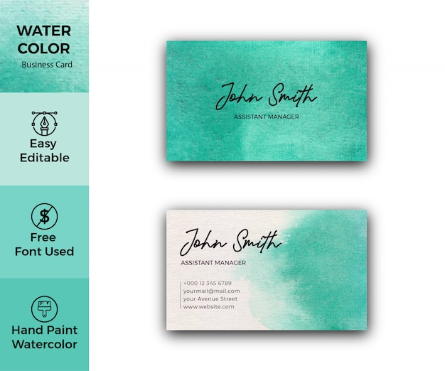Green watercolor texture corporate business card template