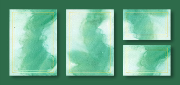 Green watercolor wedding card templates with golden frame