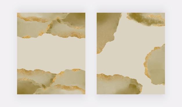 金色のキラキラ背景と緑の水彩画
