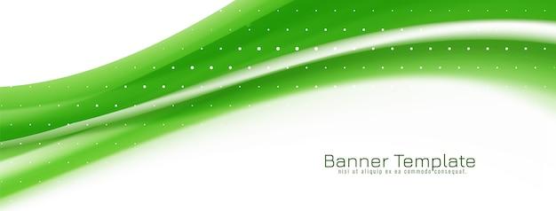 Design elegante decorativo della bandiera dell'onda verde
