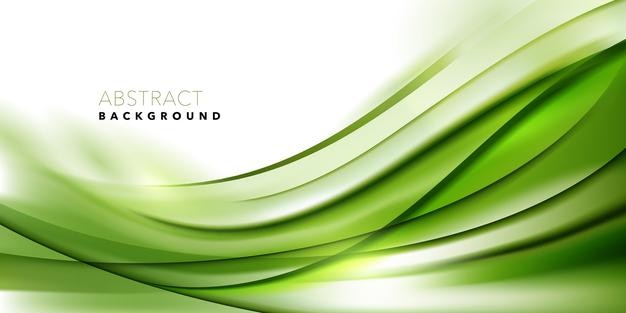 Green wave flowing lines background