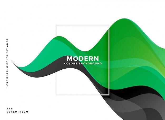 Green wave modern background design