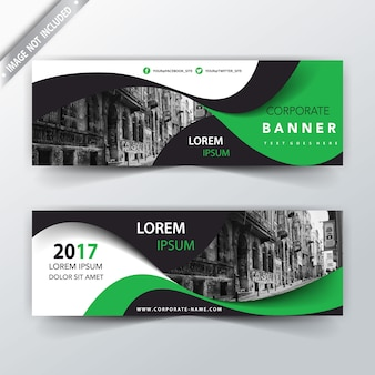 Green wavy back and front banner design