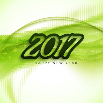 Green wavy background for new year