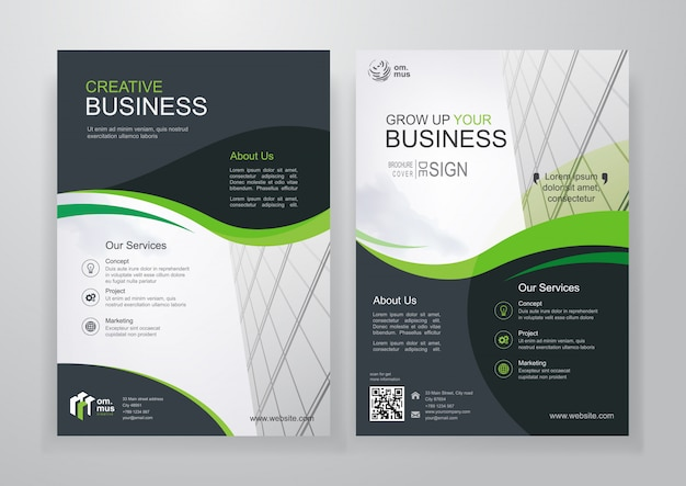Green wavy business bifold brochure or flyer