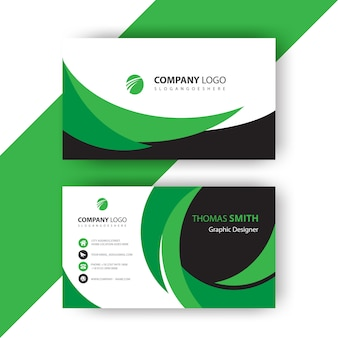 Green wavy business card