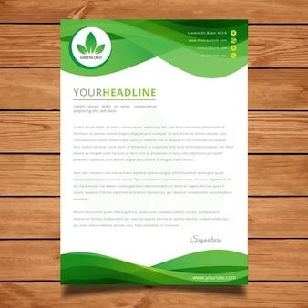 녹색 물결 모양의 편지 서식 파일