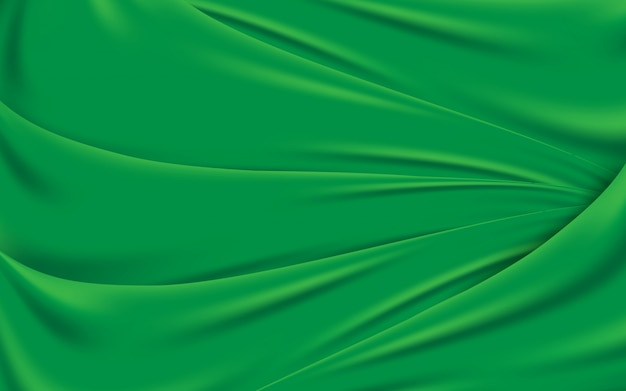 Green wavy silk fabric texture background. vector illustration
