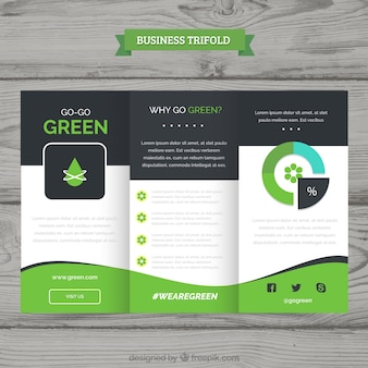 Green wavy trifold business brochure